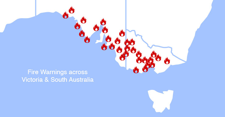 Bushfires raging ... where the fires have broken out.