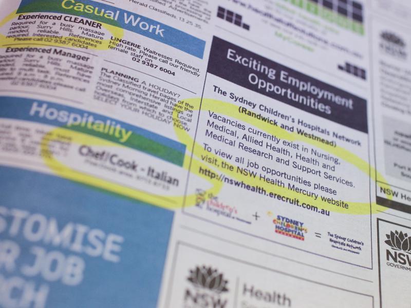 Job advertisement in a newspaper