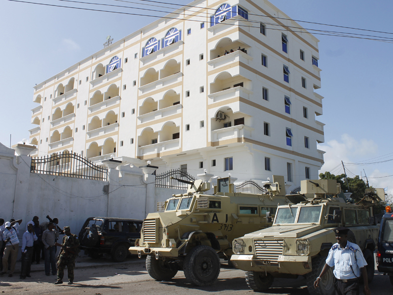 An undated photo of a hotel in Somalia where a bomb struck