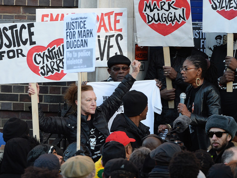 A crowd protesting the verdict of the inquest on Mark Duggan's death
