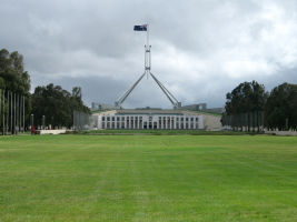 A general view of Parliament House in Canberra