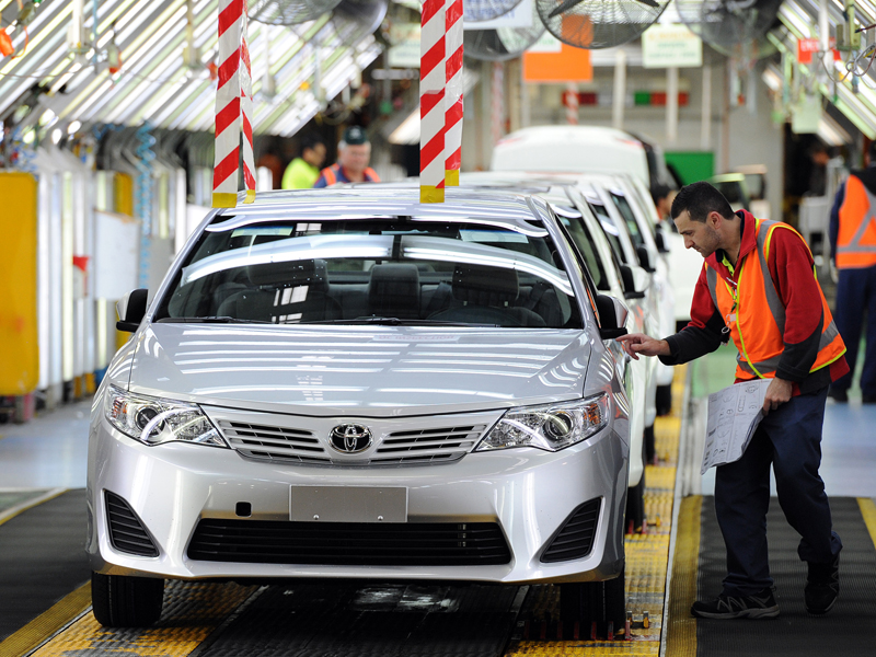 Workers on the production line at Toyota Australia.