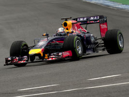 A red Bull car during testing
