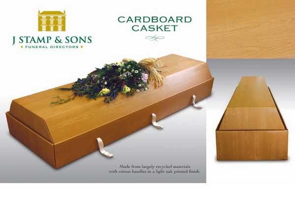 A cardboard coffin.