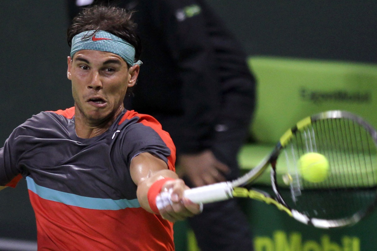 Rafael Nadal on his way to victory over Ernests Gulbis.
