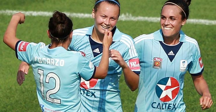 Caitlin Foord is congratulated after her third goal.