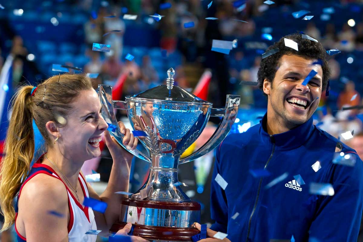 Alize Cornet and Jo-Wilfried Tsonga after France's Hopman Cup victory.