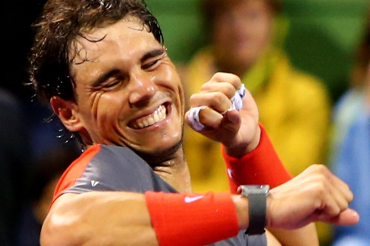 Rafael Nadal after winning in Qatar.
