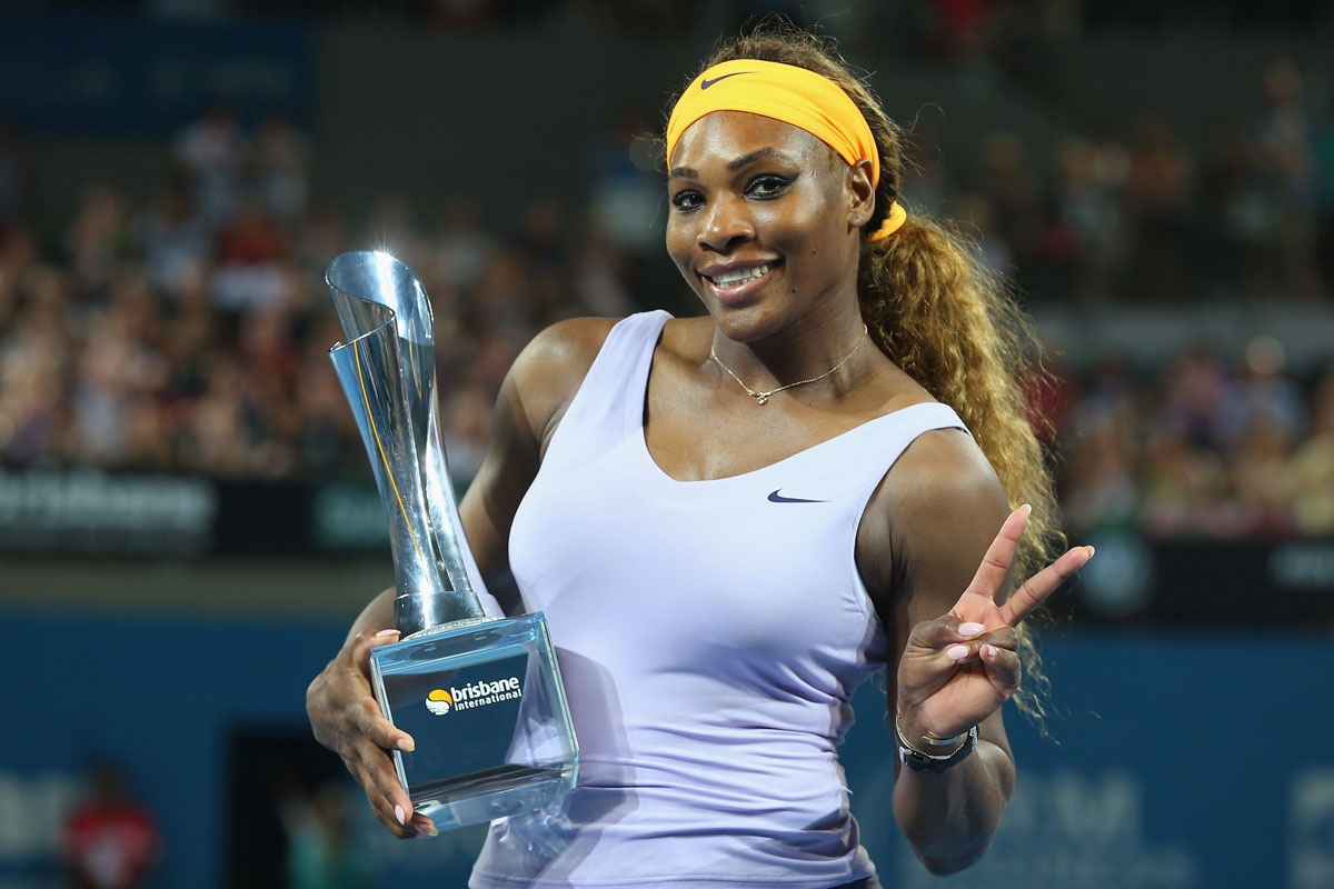 Serena Williams with another piece of silverware.