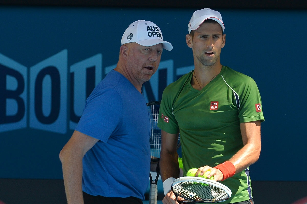 Boris Becker and Novak Djokovic at Melbourne Park.