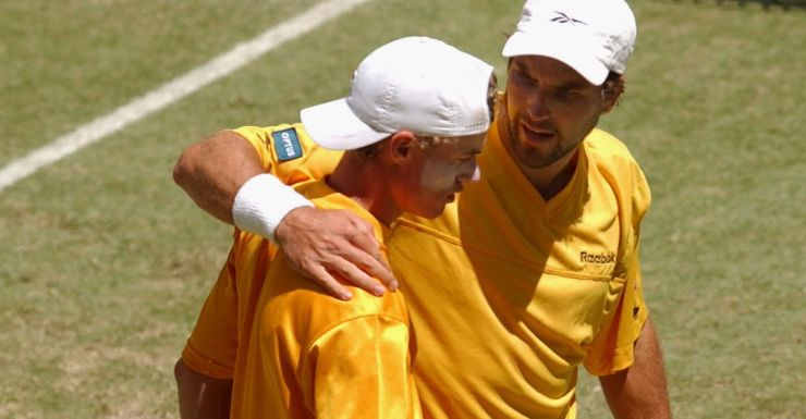 Partners: Lleyton Hewitt and Pat Rafter during the 2001 Davis Cup final.