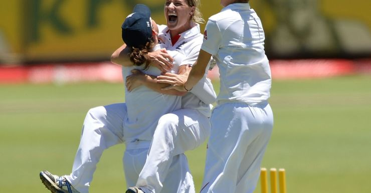 Anya Shrubsole of England celebrates after England win the Perth Ashes Test.