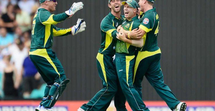 The Australians celebrate David Warner's run out of Ian Bell.