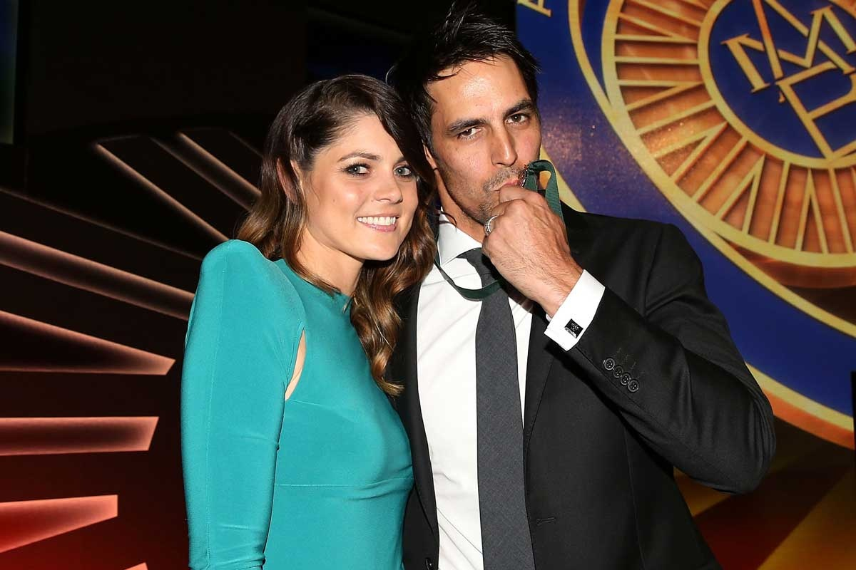 Comeback king Mitchell Johnson with wife Jessica.