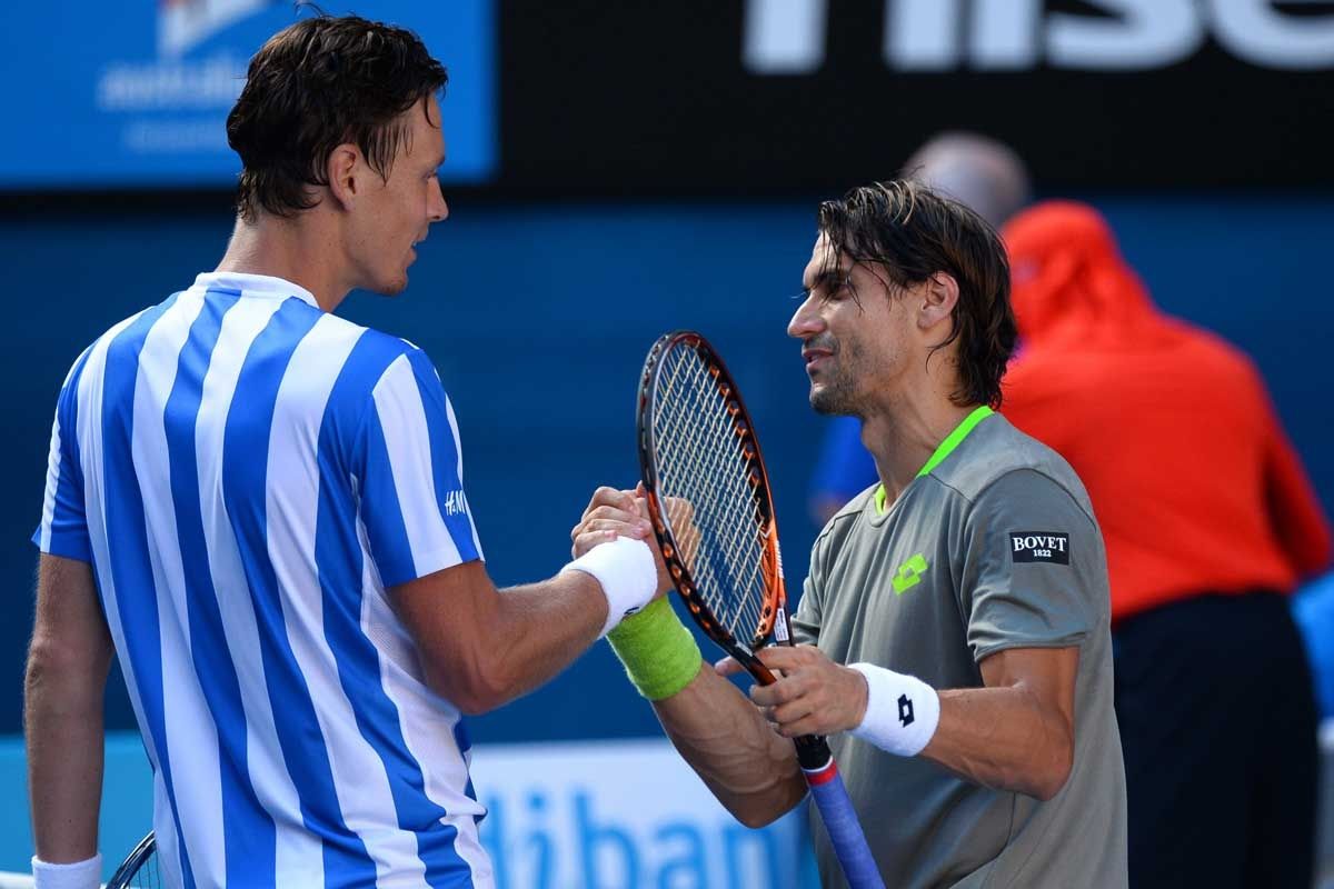 Tomas Berdych (left) is congratulated by David Ferrer.