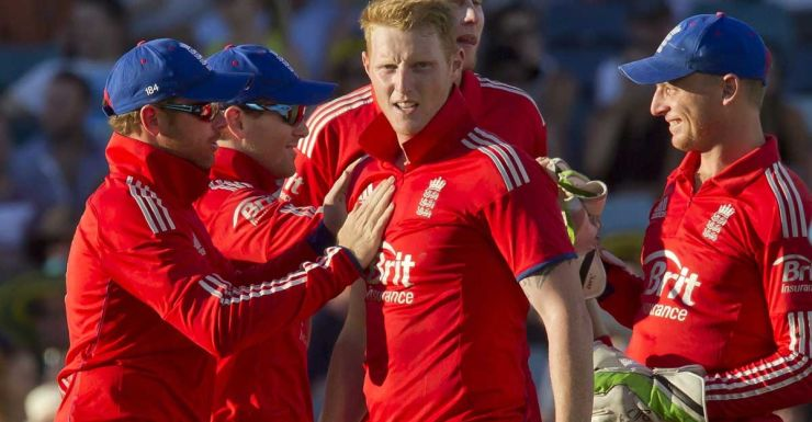Ben Stokes after taking a wicket in Perth.