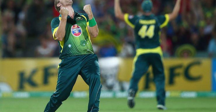 Shane Watson celebrates the match-winning wicket.