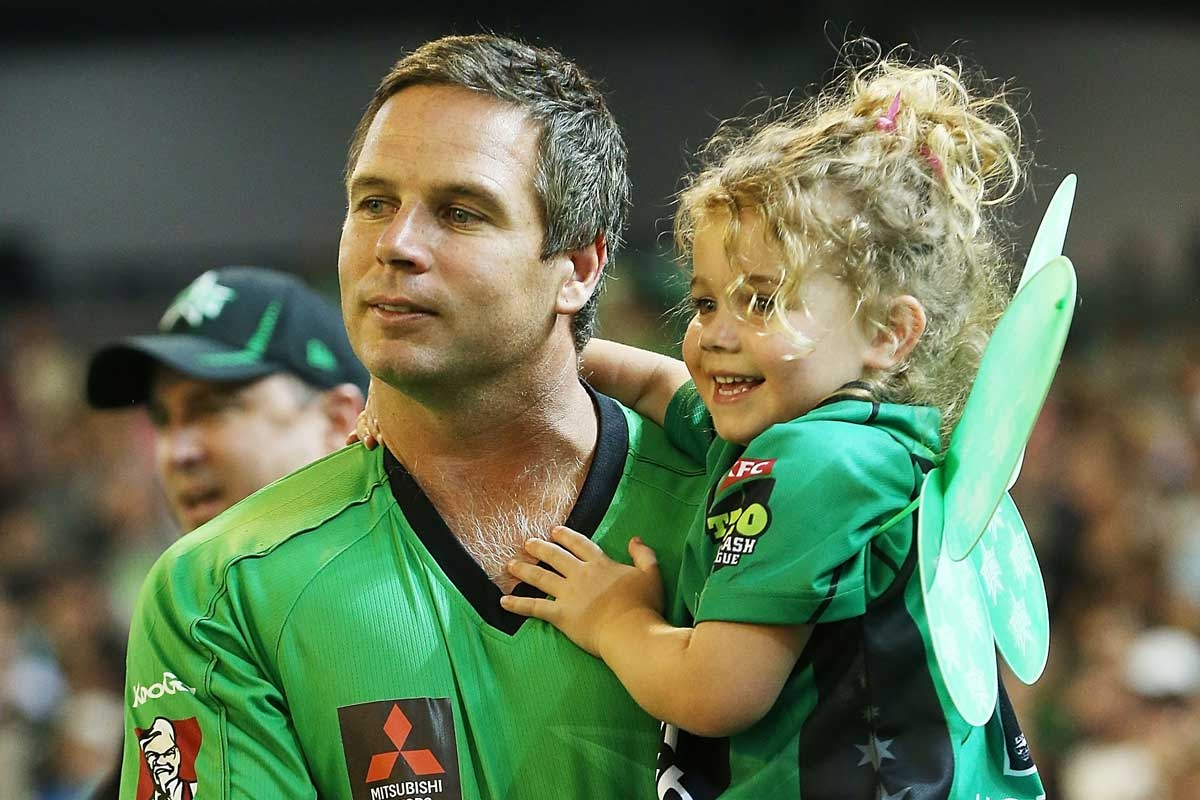 Big Bash Day Out: Brad Hodge and daughter Sophie.