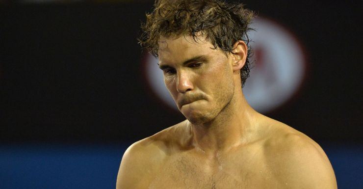 A clearly distressed Rafael Nadal.
