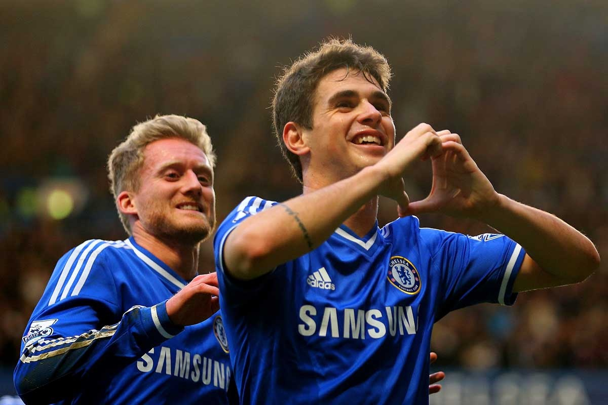 Oscar after scoring a magnificent goal for Chelsea.
