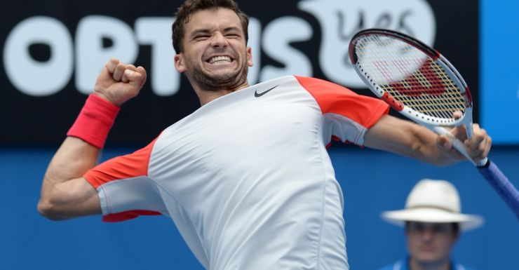 Grigor Dimitrov celebrates his victory against Milos Raonic.