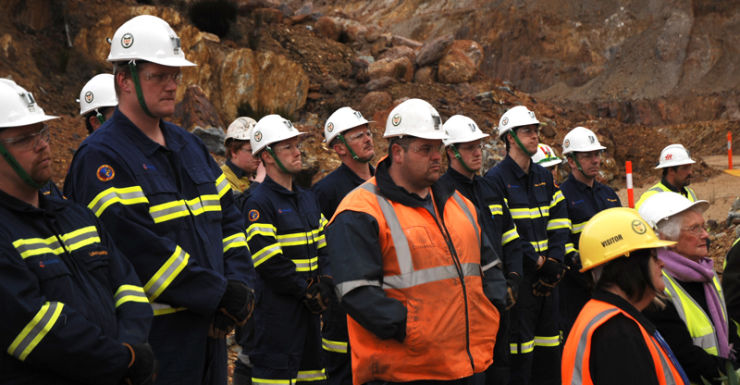 Workers at Tasmania's Mt Lyell mine