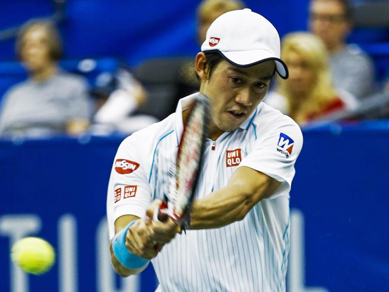 Defending champion Kei Nishikori of Japan in action.