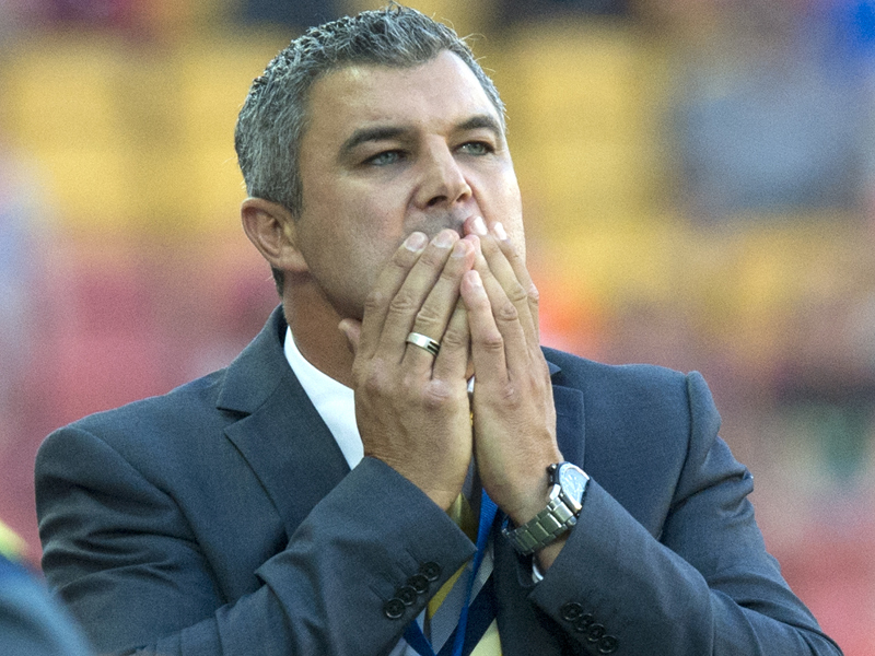 Central Coast Mariners coach Phil Moss reacts.