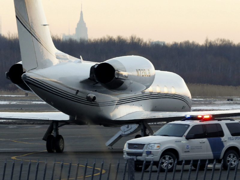 A plane reportedly used by Justin Bieber at Teterboro Airport