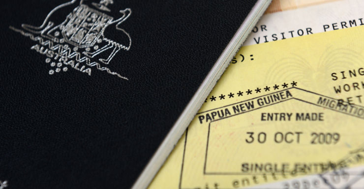 An Australian passport with an entry visa to Papua New Guinea