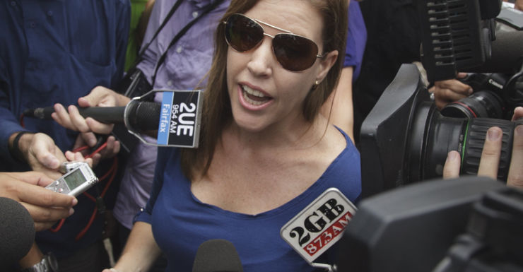Mercedes Corby gives a statement to the media