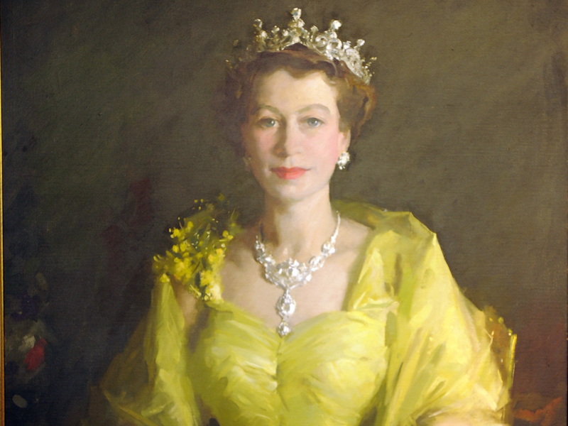 The 'wattle painting ' of Queen Elizabeth II at the National Museum