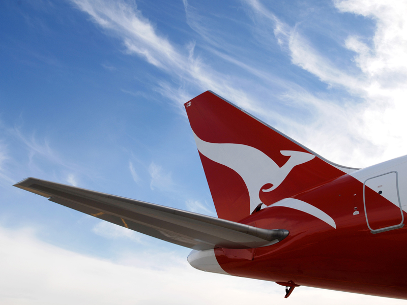 The tail of a Qantas Boeing 767 in Sydney