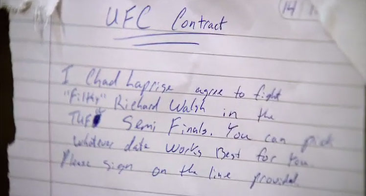 The 'contract' drawn up by Team Canada's Chad Laprise, who's desperate to fight Team Australia's Richard Walsh in the TUF: Nations semi-finals.
