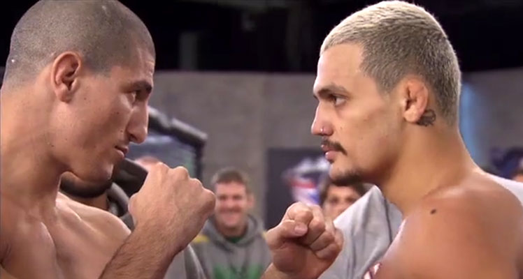 Staredown ... Team Canada's Nordine Taleb (left) and Team Australia's Tyler Manawaroa face off before their middleweight bout.