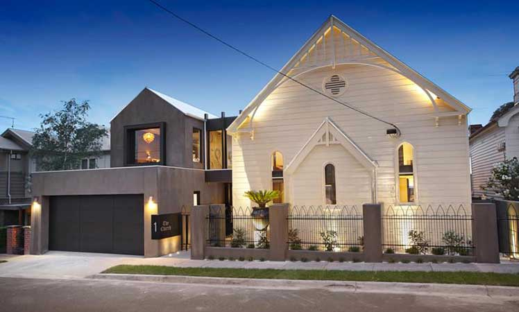 One part nineteenth-century Anglican church, one part modern Melbourne residence. Designed by husband-and-wife team Dominic and Marie Bagnato.