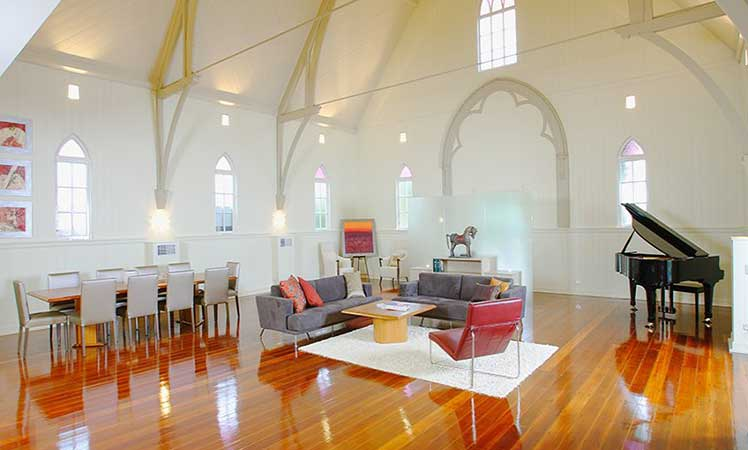 Looks incredible, but think of the energy bill. A lot of space to cool during sweltering Queensland summers in this cavernous 1867 Brisbane church, repurposed by Willis Greenhalgh Architects.