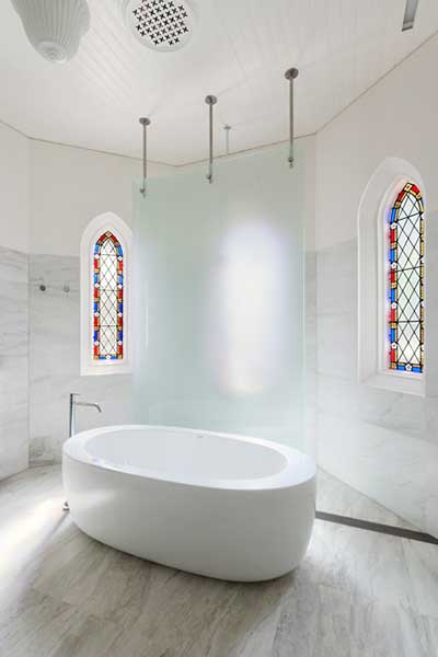 A bathroom fit for a baptism, by Victorian firm Williams Boag Architects. Photo courtesy of Sonia Mangiapane.