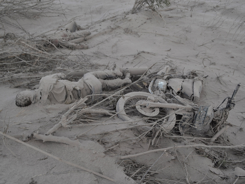 A body covered in ash