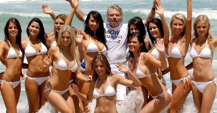 File photo of Richard Branson with girls in bikinis