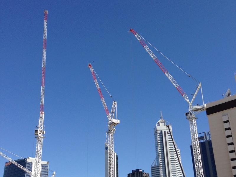 File photo of construction cranes in Perth
