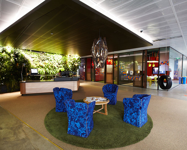 Tyre swing anyone? The reception at Google in Sydney. Source: Supplied.