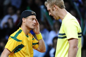Lleyton Hewitt (left) and Chris Guccione lost their doubles to France.