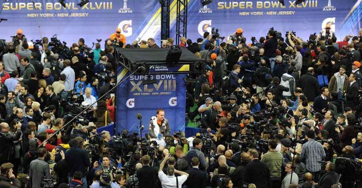 Surrounded: Denver Bronco Peyton Manning at the Super Bowl media day.