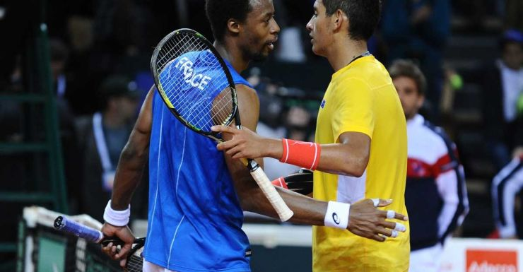 France's Gael Monfils (left) is congratulated by Australia's Nick Kyrgios.