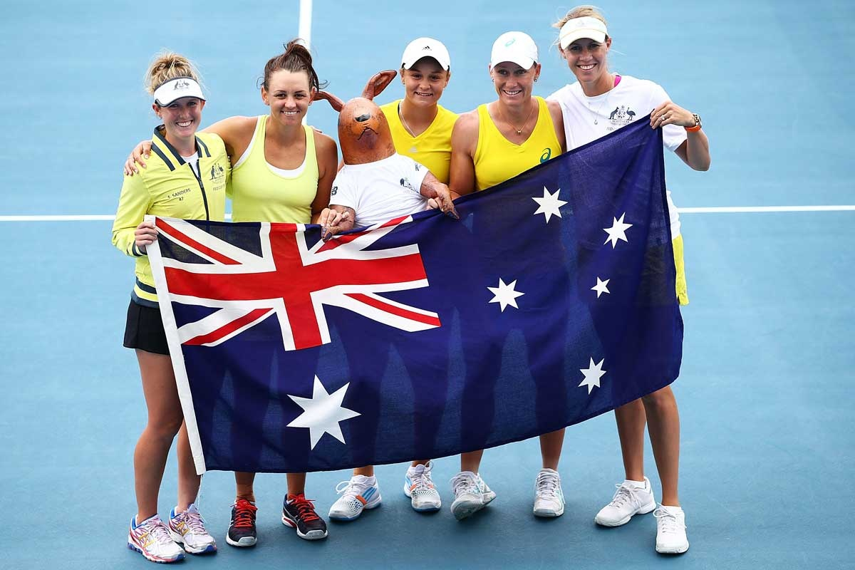 Fed Cup winners (from left) Storm Sanders, Casey Dellacqua, Ashleigh Barty, Samantha Stosur and Alicia Molik.