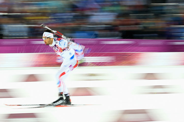 Frenchman Martin Fourcade on his way to victory in the biathlon. Picture: Getty
