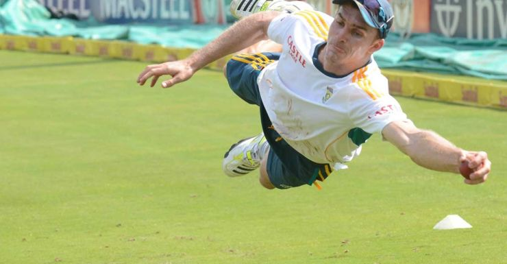 Ryan McLaren gets airborne at South African practice.
