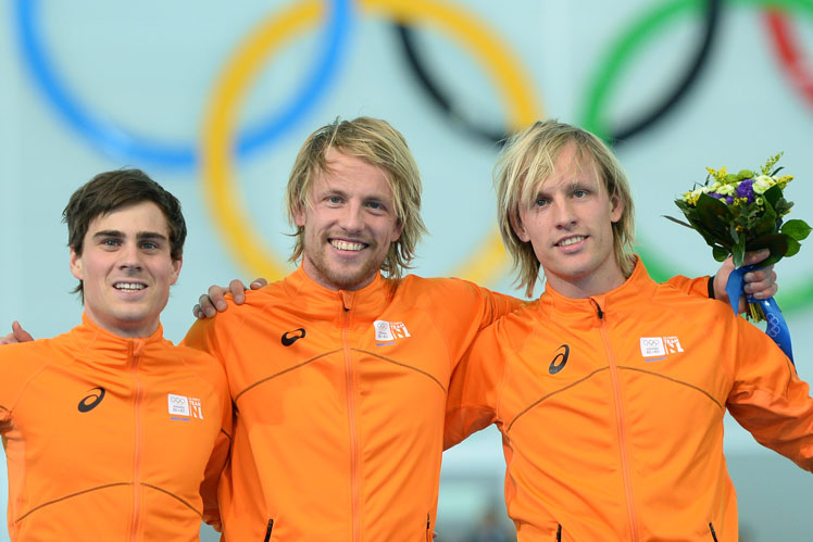 Dutch trifecta (from left):  Jan Smeekens with twins Michel and Ronald Mulder. Picture: Getty