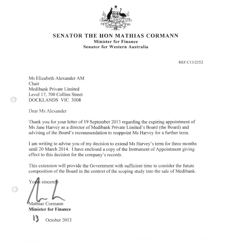Letter from Mathias Cormann